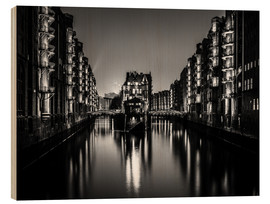 Wood print  Hamburg by night (monochrome) - Sascha Kilmer