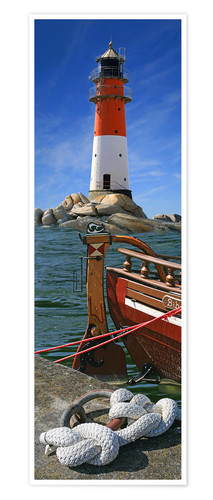 Premium poster The Lighthouse In The Harbor