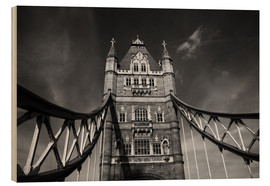 Wood print  London Tower Bridge monochrome - Filtergrafia