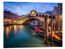 Acrylic print  Rialto Bridge in Venice Italy at night - Jan Christopher Becke