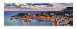Premium poster Port Soller Mallorca at night