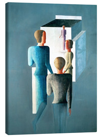 Canvas print  Four figures and cube - Oskar Schlemmer