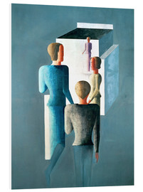 Foam board print  Four figures and cube - Oskar Schlemmer