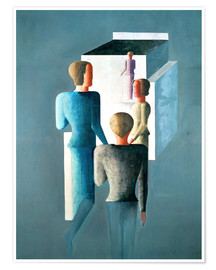 Premium poster  Four figures and cube - Oskar Schlemmer