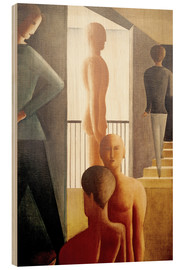 Wood print  Five men in the room - Oskar Schlemmer