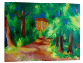 Acrylic print  Red house in a parc - August Macke