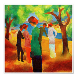 Premium poster  Lady in a green jacket - August Macke