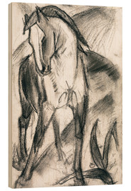 Wood print  Young horse in mountain landscape - Franz Marc