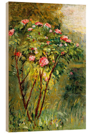 Wood print  The rose bush - Gustave Caillebotte
