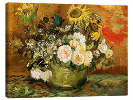 Canvas print  Roses and sunflowers - Vincent van Gogh