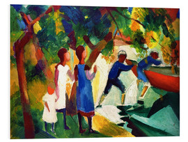 Foam board print  Spielende Kinder am Wasser - August Macke