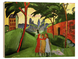 Wood print  Landscape with Three Girls - August Macke