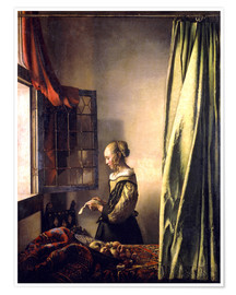 Premium poster Girl reading a letter at an open window