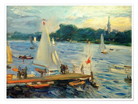 Premium poster  Sailboats on the Alster Lake in the evening - Max Slevogt