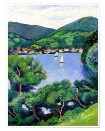 Premium poster  View of Tegernsee lake - August Macke