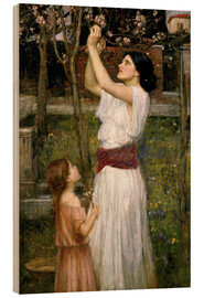 Wood print  Gathering Almond Blossoms - John William Waterhouse