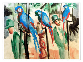 Premium poster  Among the parrots - August Macke