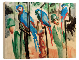 Wood print  Among the parrots - August Macke
