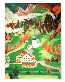 Premium poster  Frauenkirch in the autumn - Ernst Ludwig Kirchner