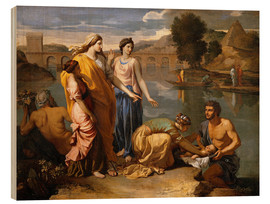 Wood print  Discovery of the Moses baby - Nicolas Poussin