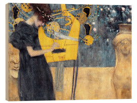 Wood print  The music - Gustav Klimt