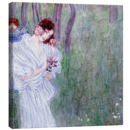 Canvas  Girl with flowers at the edge of a forest - Gustav Klimt