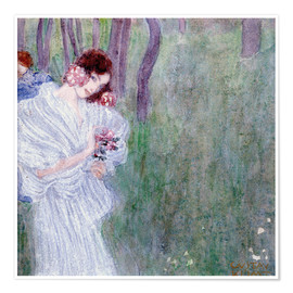 Poster  Girl with flowers at the edge of a forest - Gustav Klimt