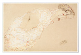 Premium poster  Lying on her stomach - Gustav Klimt