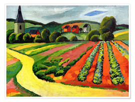 Premium poster Landscape with Church and path