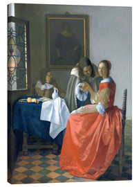 Canvas  The Girl with the Wine Glass - Jan Vermeer