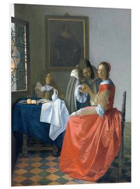 Foam board print  The girl with the wine glass - Jan Vermeer