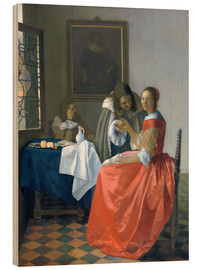 Wood print  The girl with the wine glass - Jan Vermeer