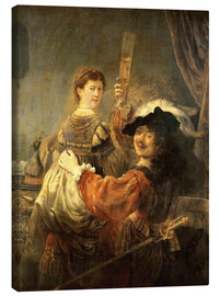 Canvas print  Self-portrait with his wife Saskia as the prodigal son - Rembrandt van Rijn