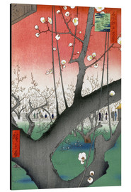 Aluminium print  The Plum Tree Teahouse at Kameido - Utagawa Hiroshige
