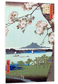 Foam board print  Masaki and the Suijin Grove by the Sumida River - Utagawa Hiroshige