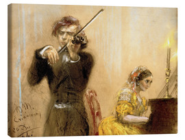 Canvas print  Clara Schumann and Joseph Joachim playing music - Adolph von Menzel
