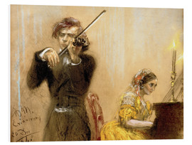 Foam board print  Clara Schumann and Joseph Joachim playing music - Adolph von Menzel
