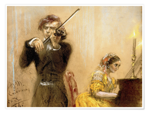 Premium poster Clara Schumann and Joseph Joachim playing music
