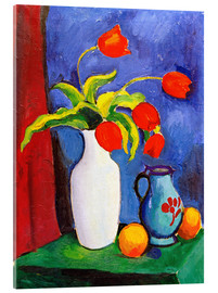 Acrylic print  Red tulips in white vase - August Macke