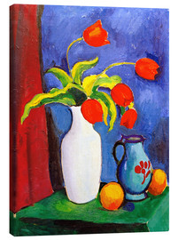 Canvas print  Red tulips in white vase - August Macke