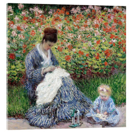 Acrylic print  Camille Monet and a child in a garden - Claude Monet