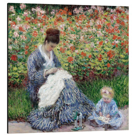 Aluminium print  Camille Monet and a Child in a Garden - Claude Monet