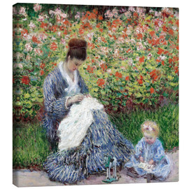 Canvas print  Camille Monet and a child in a garden - Claude Monet