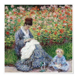 Premium poster Camille Monet and a child in a garden