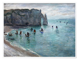 Premium poster  Étretat, Porte d'Aval: Fishing Boats Leaving the Harbor - Claude Monet