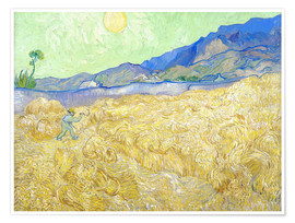 Premium poster  Wheat Field with Reaper at sunrise - Vincent van Gogh