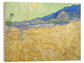 Wood print  Wheat Field with Reaper at sunrise - Vincent van Gogh