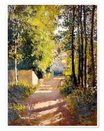 Premium poster  Path under trees - Gustave Caillebotte