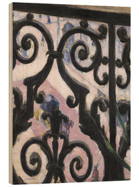 Wood print  View through balcony grill - Gustave Caillebotte
