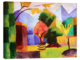 Canvas  Garden beside the lake Thun - August Macke